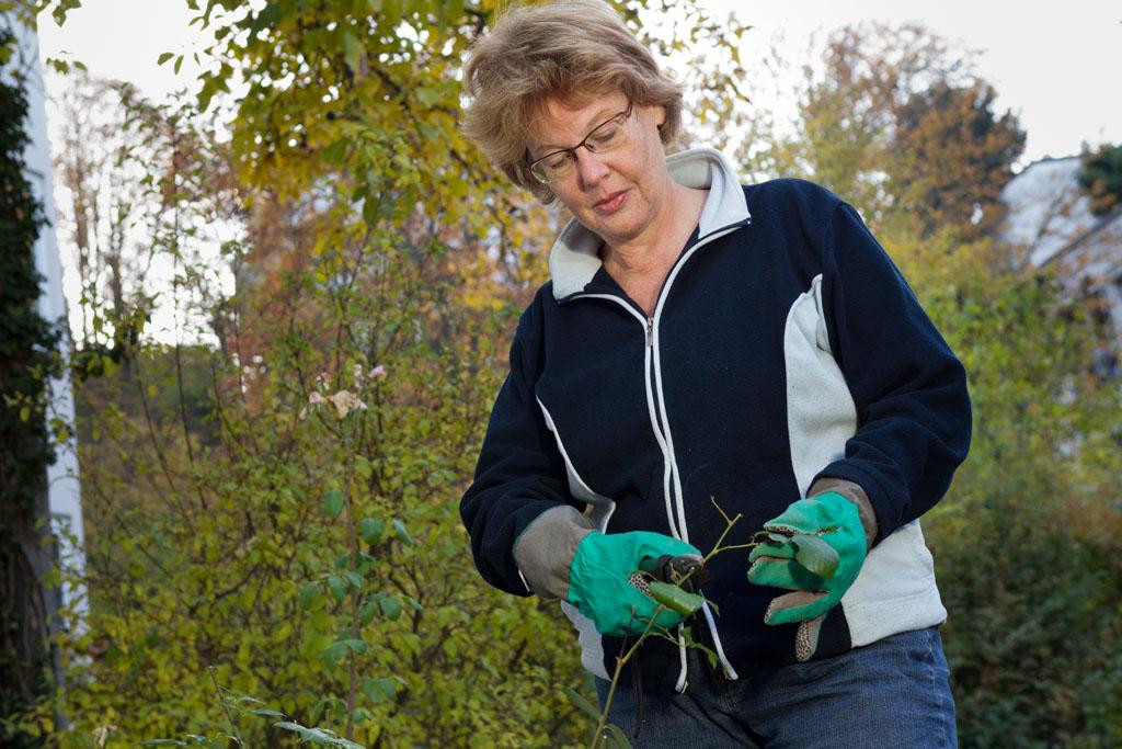 Cornelia Fuellkrug-Weitzel bei der herbstlichen Gartenarbeit.